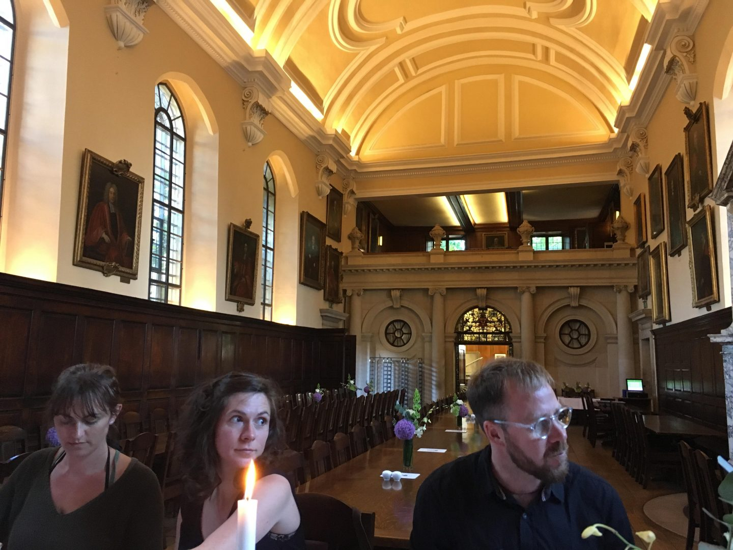 Dinner in the Hall with Fay, Lucy and Ewan enjoying the view.